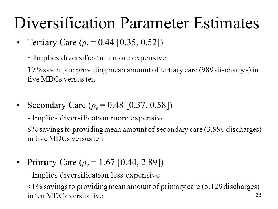 26 Diversification Parameter Estimates Tertiary Care (ρ t = 0.44 [0.35, 0.52]) - Implies diversification more expensive 19% savings to providing mean amount of tertiary care (989 discharges) in five MDCs versus ten Secondary Care (ρ s = 0.48 [0.37, 0.58]) - Implies diversification more expensive 8% savings to providing mean amount of secondary care (3,990 discharges) in five MDCs versus ten Primary Care (ρ p = 1.67 [0.44, 2.89]) - Implies diversification less expensive <1% savings to providing mean amount of primary care (5,129 discharges) in ten MDCs versus five 26