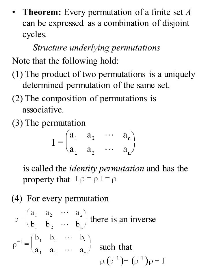 Properties of Algebraic Structures properties Theorem: (unique identity) Suppose that is a monoid then the identity element is unique Proof: Suppose there exist two identity elements e and f.