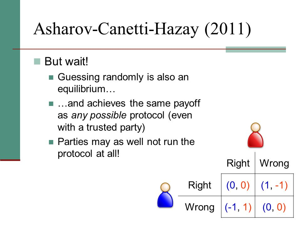 Asharov-Canetti-Hazay (2011) But wait! Guessing randomly is also an equilibrium… …and achieves the same payoff as any possible protocol (even with a t
