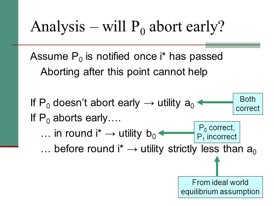 Analysis – will P 0 abort early.