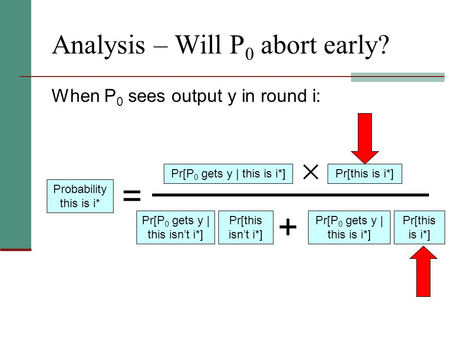 Analysis – Will P 0 abort early? Probability this is i* = Pr[P 0 gets y | this is i*]Pr[this is i*] When P 0 sees output y in round i: Pr[P 0 gets y |