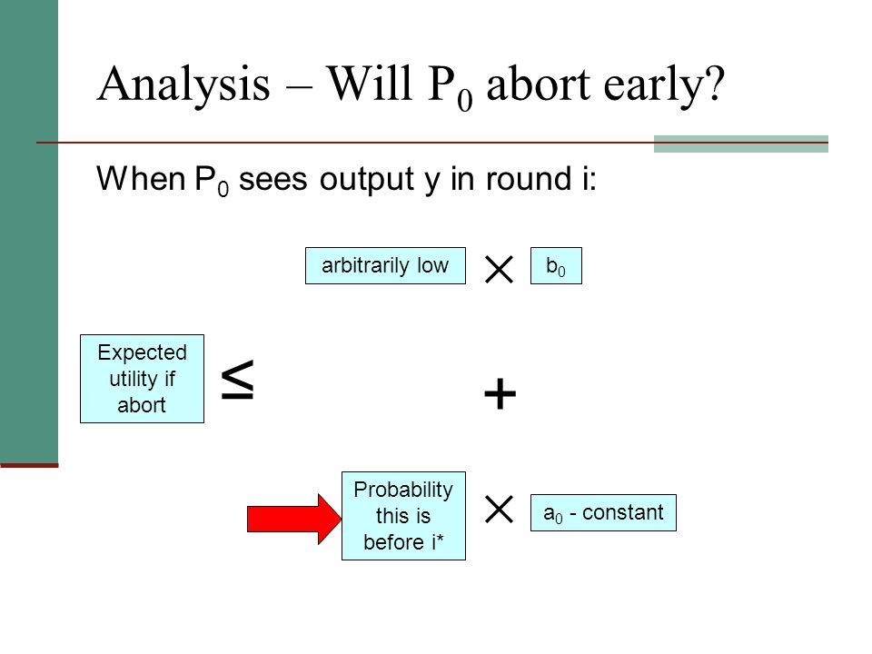 Analysis – Will P 0 abort early? When P 0 sees output y in round i: Expected utility if abort Probability this is before i* arbitrarily lowb0b0 a 0 -
