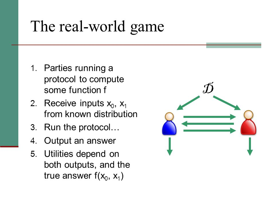 The real-world game 1. Parties running a protocol to compute some function f 2. Receive inputs x 0, x 1 from known distribution 3. Run the protocol… 4