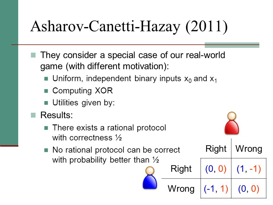 Asharov-Canetti-Hazay (2011) They consider a special case of our real-world game (with different motivation): Uniform, independent binary inputs x 0 a