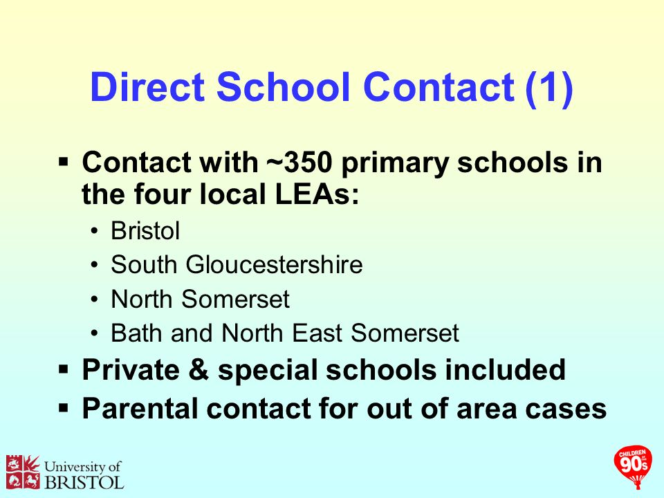 Direct School Contact (1) Contact with ~350 primary schools in the four local LEAs: Bristol South Gloucestershire North Somerset Bath and North East Somerset Private & special schools included Parental contact for out of area cases