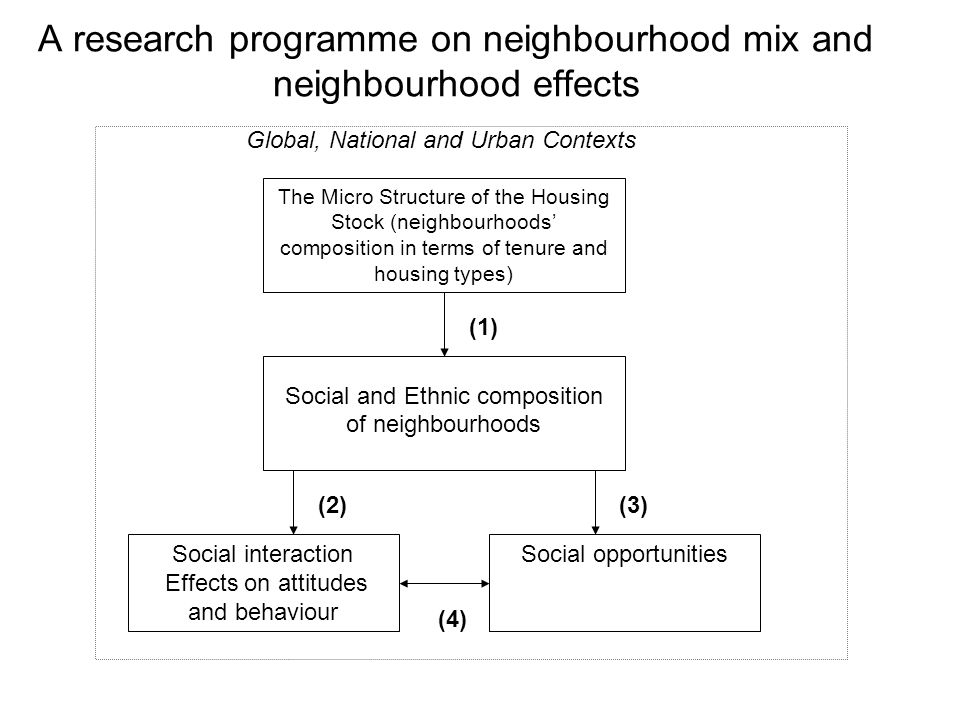 A research programme on neighbourhood mix and neighbourhood effects The Micro Structure of the Housing Stock (neighbourhoods composition in terms of t