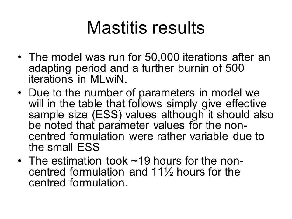 Mastitis results The model was run for 50,000 iterations after an adapting period and a further burnin of 500 iterations in MLwiN.