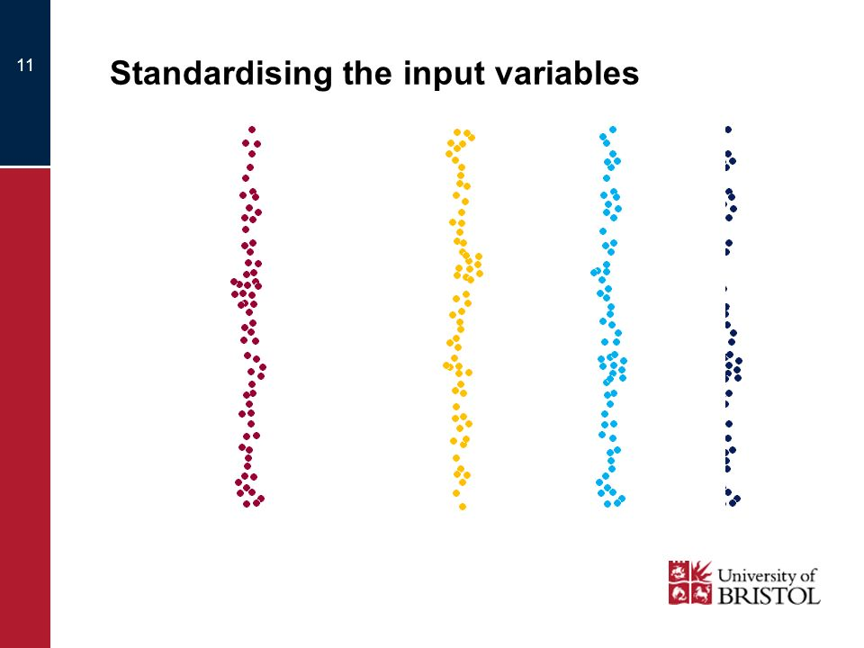 Standardising the input variables 11