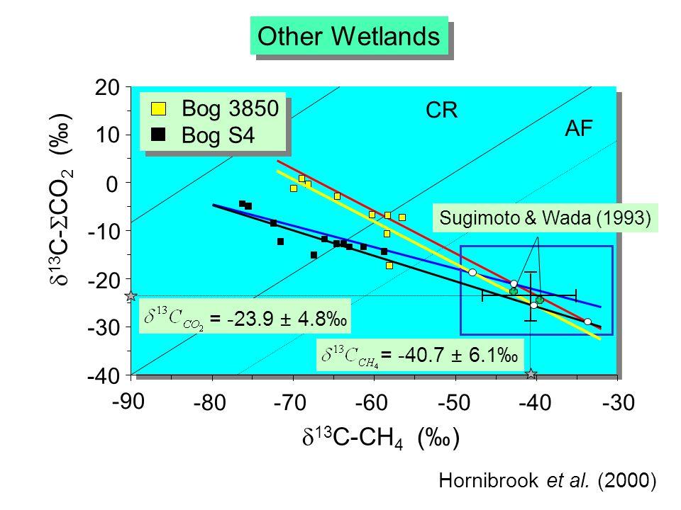 -10 -20 20 10 0 -30 -40-50-60-70-80 -90 13 C-CH 4 () 13 C- CO 2 () -40 Other Wetlands AF CR Bog 3850 Bog S4 = -40.7 ± 6.1 = -23.9 ± 4.8 Sugimoto & Wada (1993) Hornibrook et al.