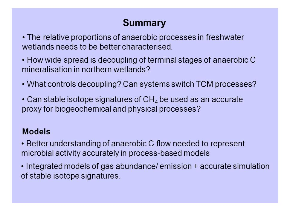 Summary The relative proportions of anaerobic processes in freshwater wetlands needs to be better characterised.