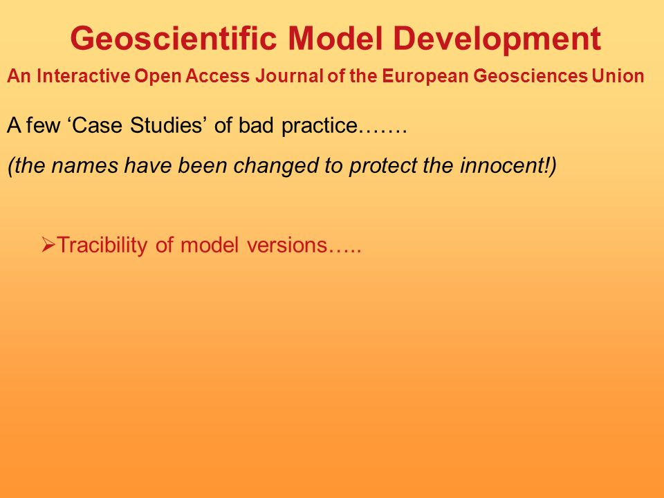 Geoscientific Model Development An Interactive Open Access Journal of the European Geosciences Union GMD will provide a means by which the hard work of model developers can be formally recognised and published.