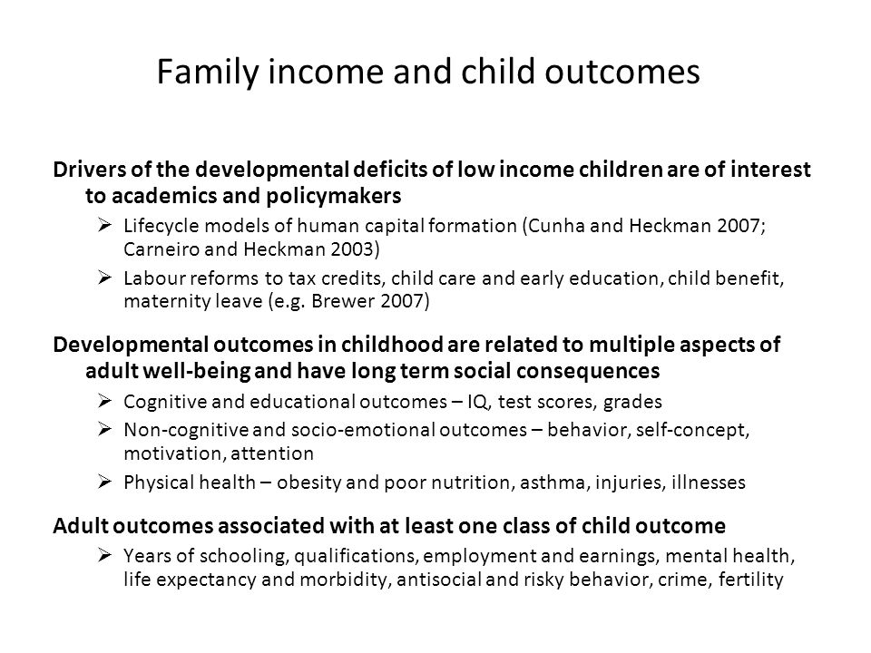 Family income and child outcomes Drivers of the developmental deficits of low income children are of interest to academics and policymakers Lifecycle