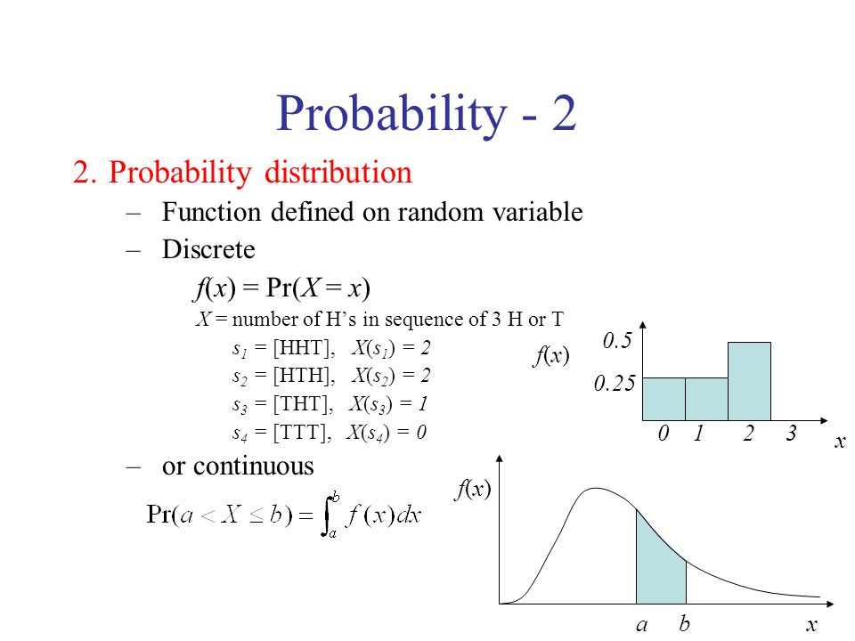 Probability - 2 2.Probability distribution –Function defined on random variable –Discrete f(x) = Pr(X = x) X = number of Hs in sequence of 3 H or T s