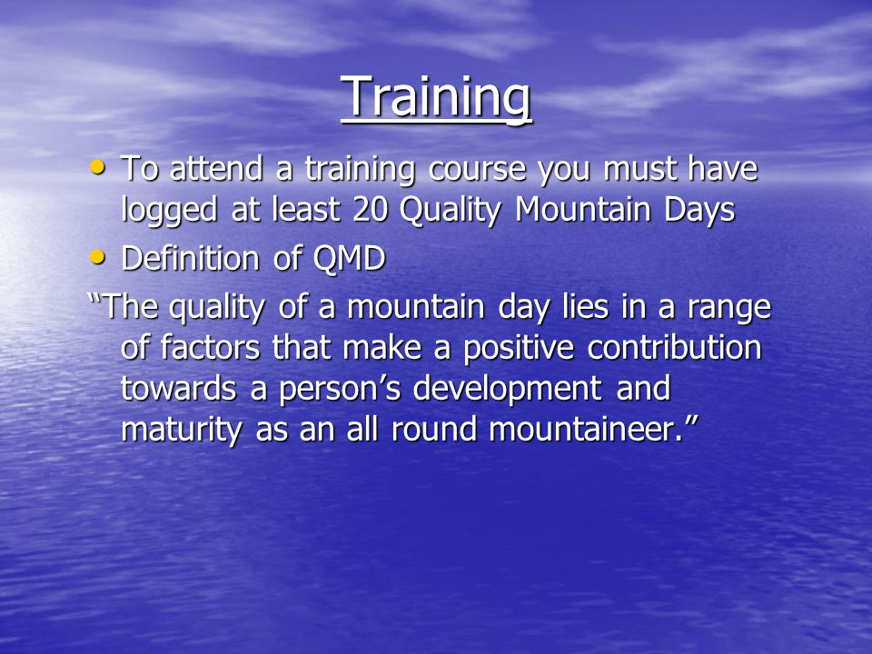 Consolidation Period Usually a period of 12 months whereby you will complete a minimum of 40 mountain days Usually a period of 12 months whereby you will complete a minimum of 40 mountain days
