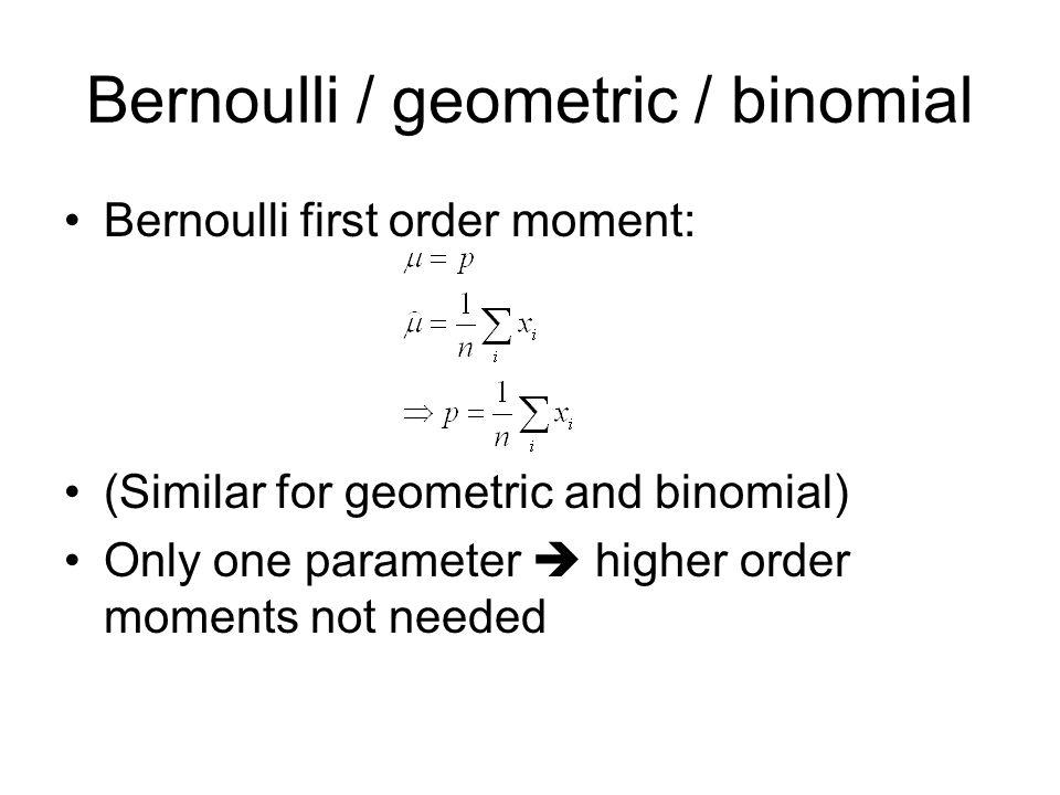 Bernoulli / geometric / binomial Empirical mean: p = 0.34, estimated based on 100*10 Bernoulli outcomes