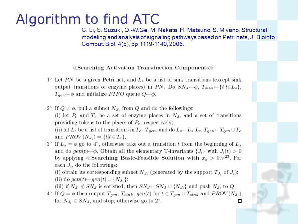 Algorithm to find ATC C. Li, S. Suzuki, Q.-W.Ge, M. Nakata, H. Matsuno, S. Miyano, Structural modeling and analysis of signaling pathways based on Pet