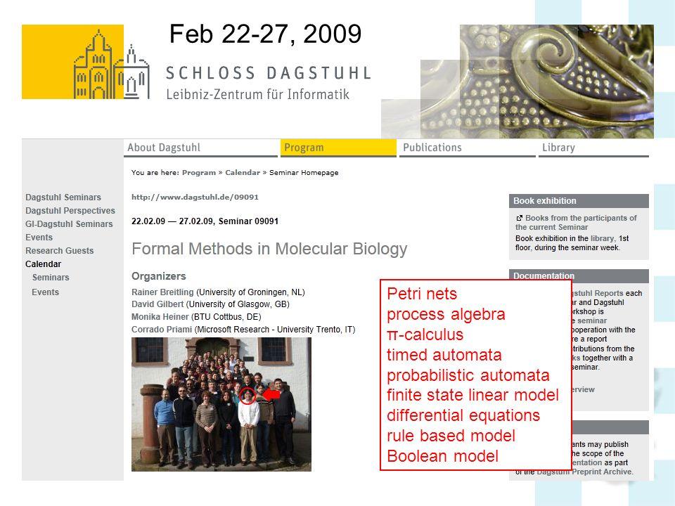 Petri nets process algebra π-calculus timed automata probabilistic automata finite state linear model differential equations rule based model Boolean