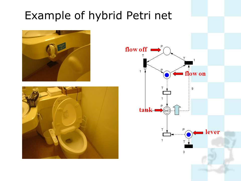 tank flow off flow on lever Example of hybrid Petri net