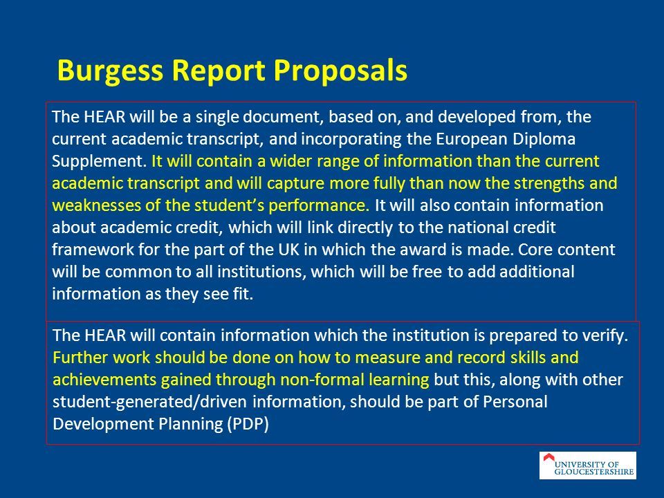 HEAR = Academic Transcript (module marks and grades).