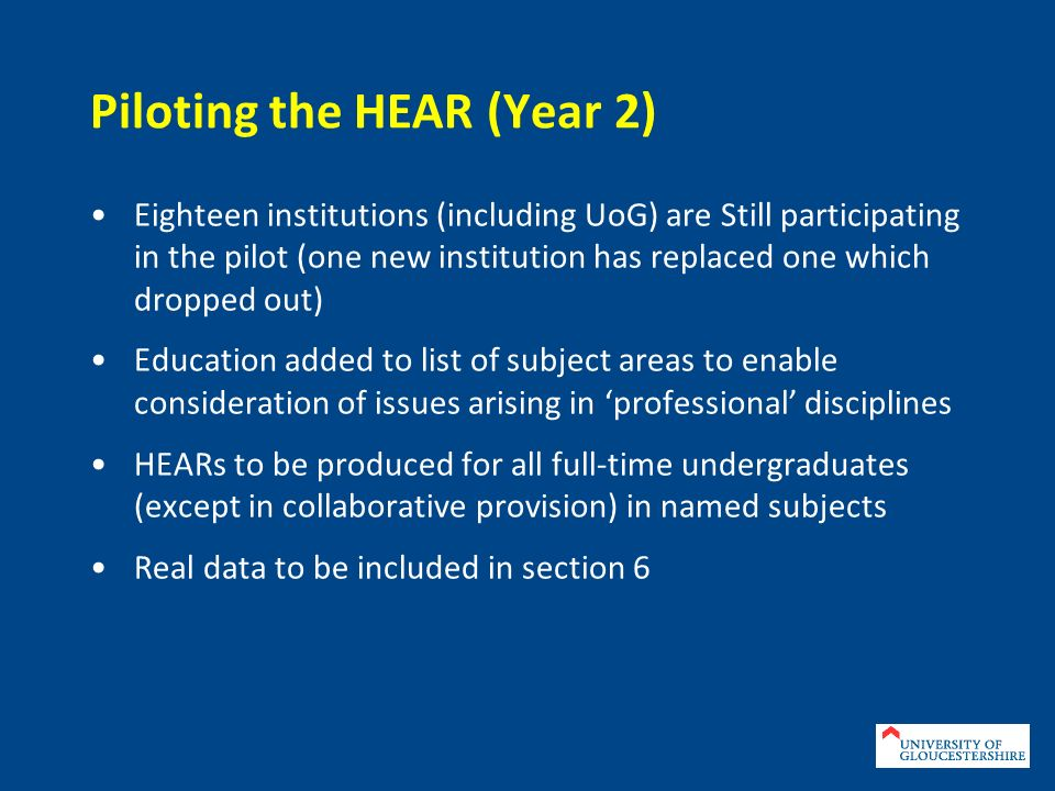 Sections of the HEAR 1.Personal Details 2. Information Identifying the Qualification 3.