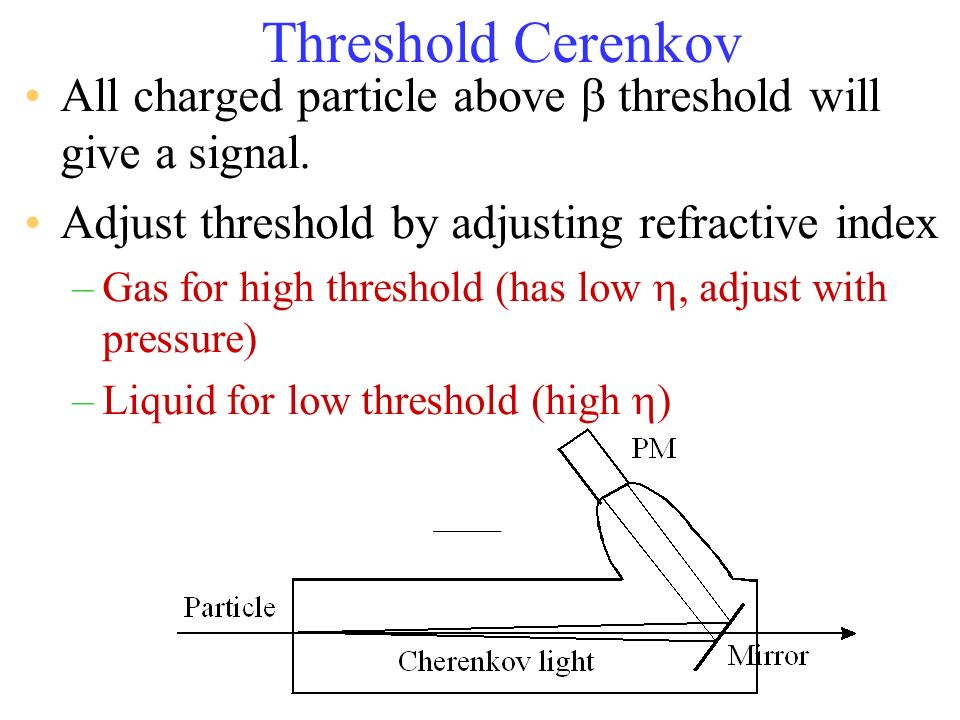 Threshold Cerenkov All charged particle above threshold will give a signal. Adjust threshold by adjusting refractive index –Gas for high threshold (ha