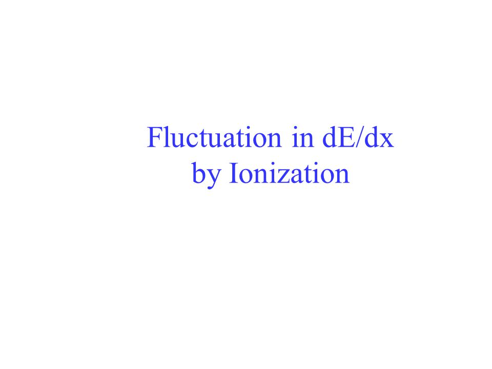 Fluctuation in dE/dx by Ionization