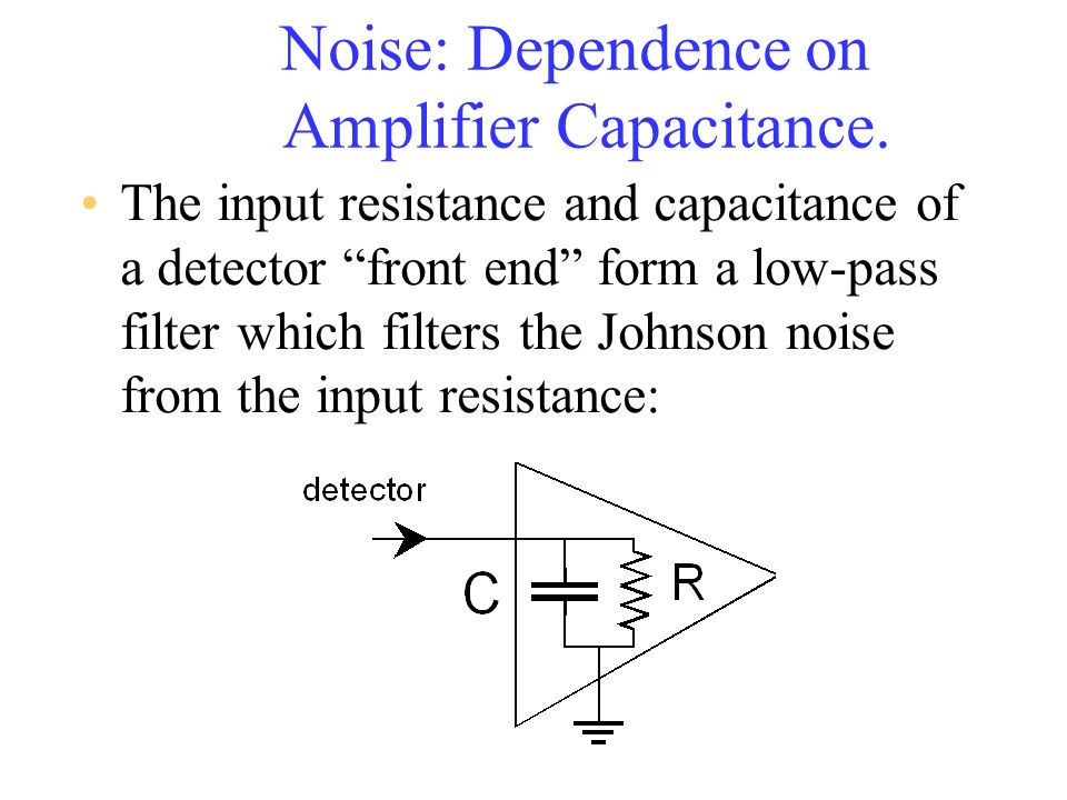 Noise: Dependence on Amplifier Capacitance. The input resistance and capacitance of a detector front end form a low-pass filter which filters the John