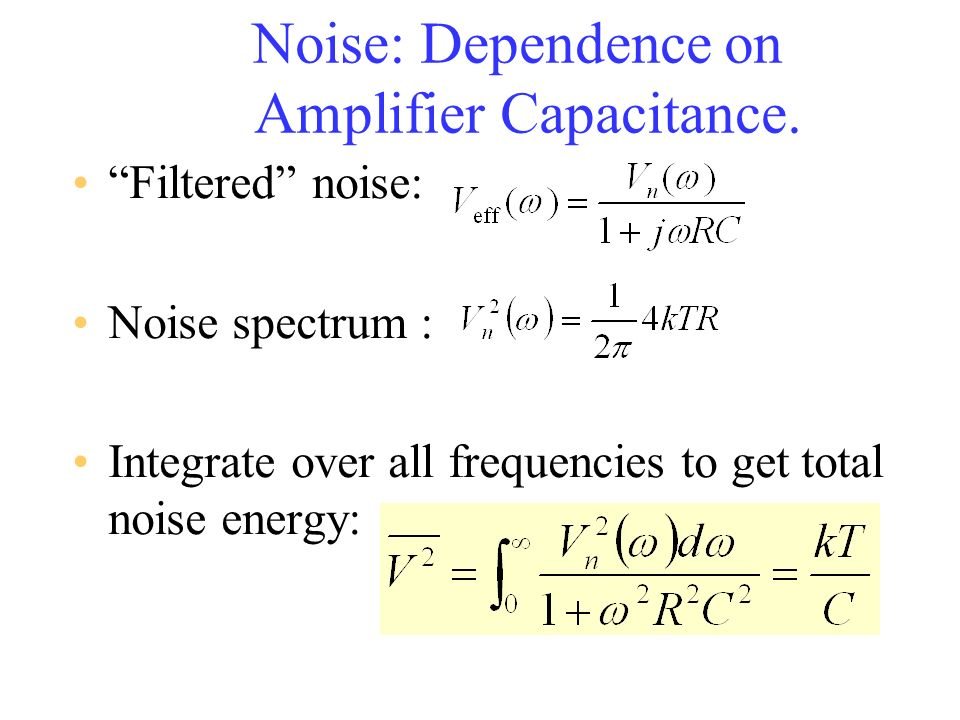 Noise: Dependence on Amplifier Capacitance. Filtered noise: Noise spectrum : Integrate over all frequencies to get total noise energy: