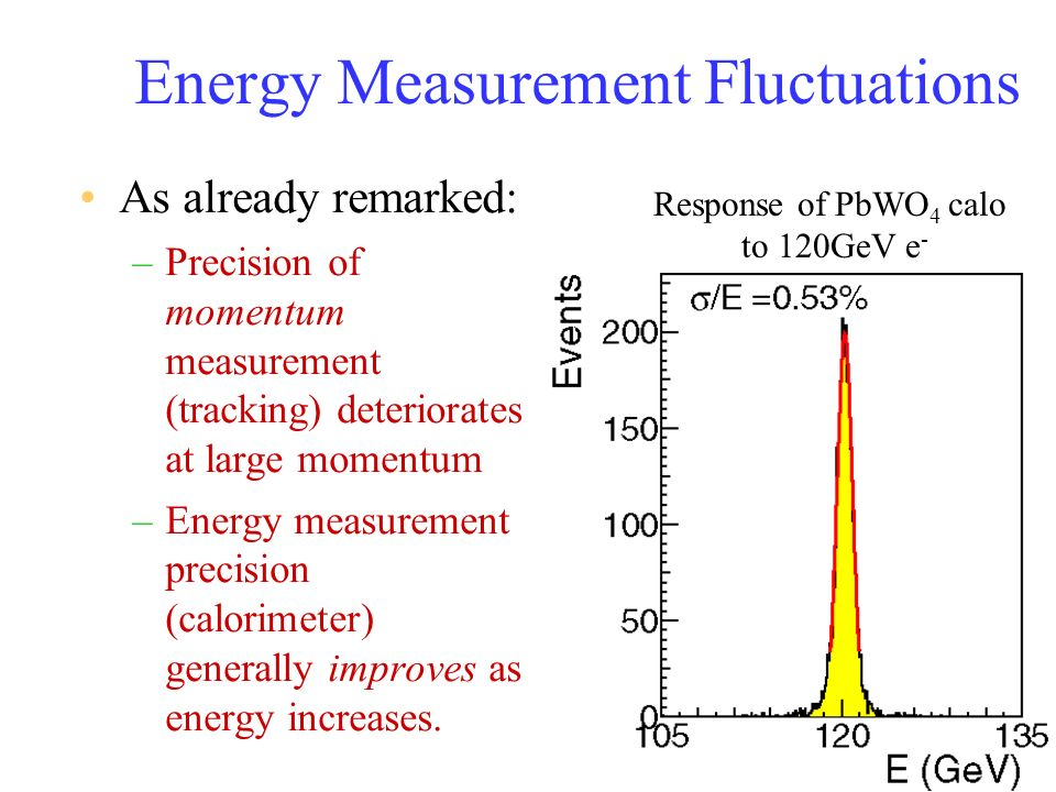 Energy Measurement Fluctuations As already remarked: –Precision of momentum measurement (tracking) deteriorates at large momentum –Energy measurement