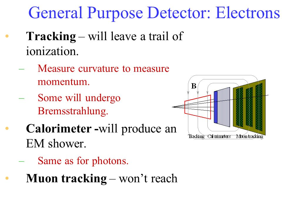 General Purpose Detector: Electrons Tracking – will leave a trail of ionization. –Measure curvature to measure momentum. –Some will undergo Bremsstrah