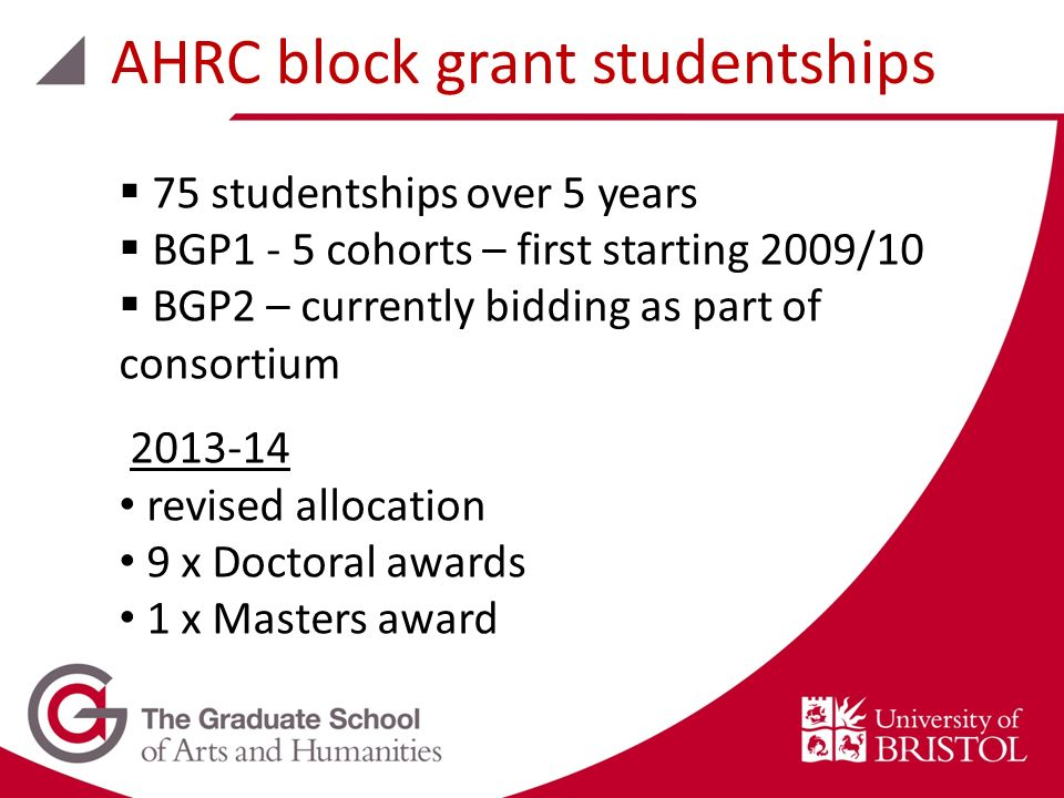 75 studentships over 5 years BGP1 - 5 cohorts – first starting 2009/10 BGP2 – currently bidding as part of consortium 2013-14 revised allocation 9 x D