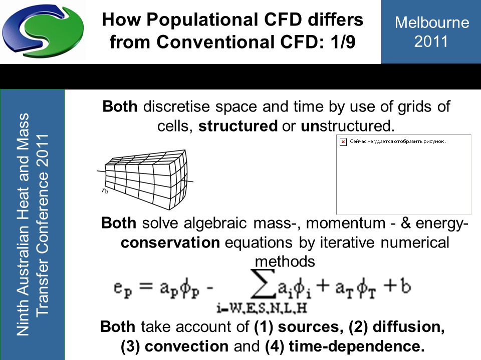 Melbourne 2011 Ninth Australian Heat and Mass Transfer Conference 2011 How Populational CFD differs from Conventional CFD: 1/9 Both discretise space a