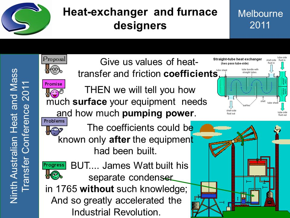 Melbourne 2011 Ninth Australian Heat and Mass Transfer Conference 2011 Heat-exchanger and furnace designers THEN we will tell you how much surface you