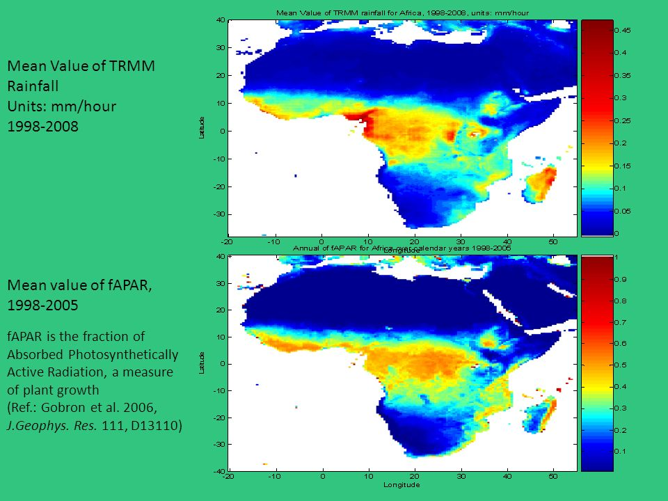 Mean Value of TRMM Rainfall Units: mm/hour 1998-2008 Mean value of fAPAR, 1998-2005 fAPAR is the fraction of Absorbed Photosynthetically Active Radiation, a measure of plant growth (Ref.: Gobron et al.