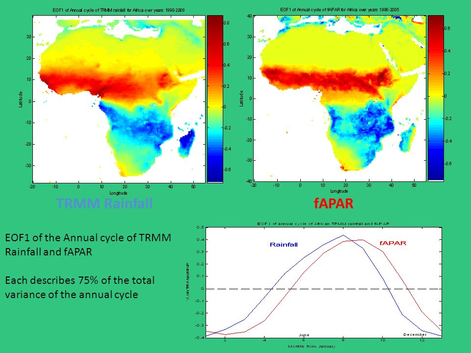 TRMM RainfallfAPAR EOF1 of the Annual cycle of TRMM Rainfall and fAPAR Each describes 75% of the total variance of the annual cycle