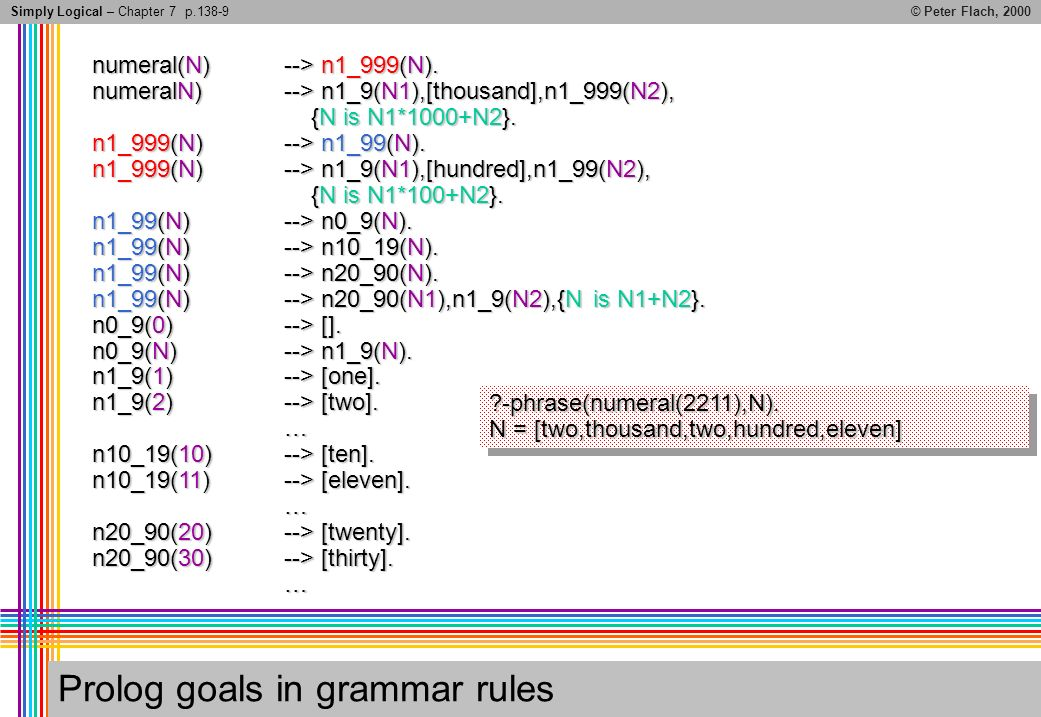 Simply Logical – Chapter 7© Peter Flach, 2000 Prolog goals in grammar rules numeral(N)--> n1_999(N).