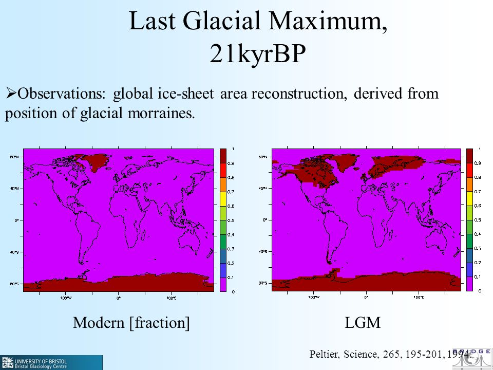 Last Glacial Maximum, 21kyrBP Observations: global ice-sheet area reconstruction, derived from position of glacial morraines.