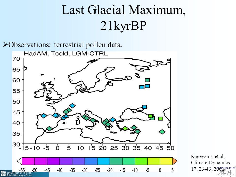 Last Glacial Maximum, 21kyrBP Observations: terrestrial pollen data. Kageyama et al, Climate Dynamics, 17, 23-43, 2001