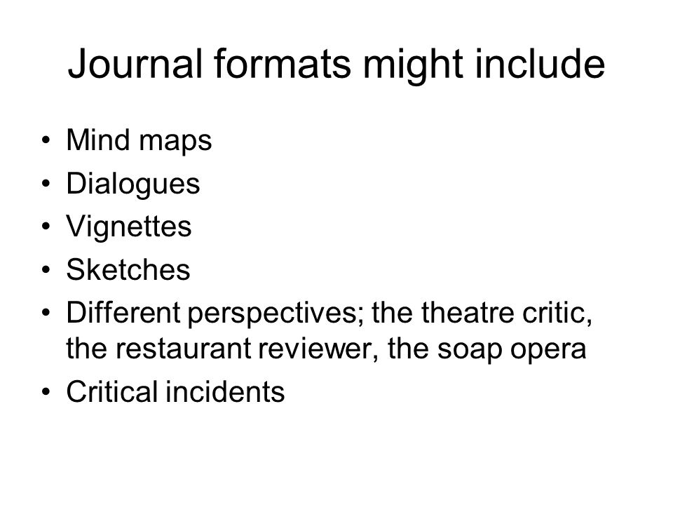 Journal formats might include Mind maps Dialogues Vignettes Sketches Different perspectives; the theatre critic, the restaurant reviewer, the soap ope