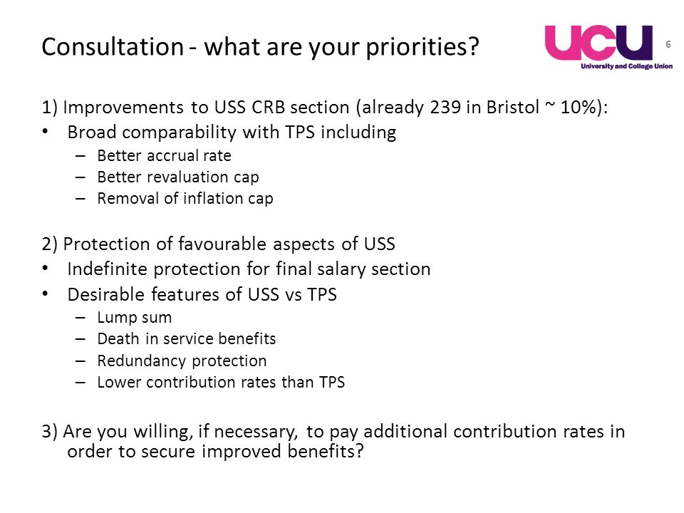 Consultation - what are your priorities? 1) Improvements to USS CRB section (already 239 in Bristol ~ 10%): Broad comparability with TPS including – B