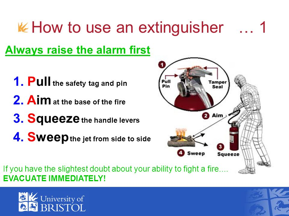 How to use an extinguisher … 1 Always raise the alarm first 1. Pull the safety tag and pin 2. Aim at the base of the fire 3. Squeeze the handle levers
