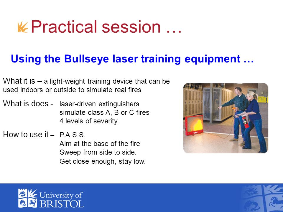 Practical session … Using the Bullseye laser training equipment … What it is – a light-weight training device that can be used indoors or outside to s