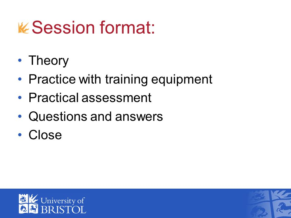 Session format: Theory Practice with training equipment Practical assessment Questions and answers Close