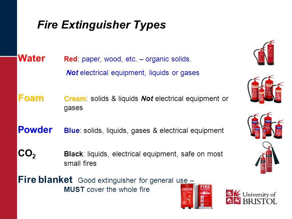 Fire Extinguisher Types Water Red: paper, wood, etc. – organic solids. Not electrical equipment, liquids or gases Foam Cream Foam Cream: solids & liqu