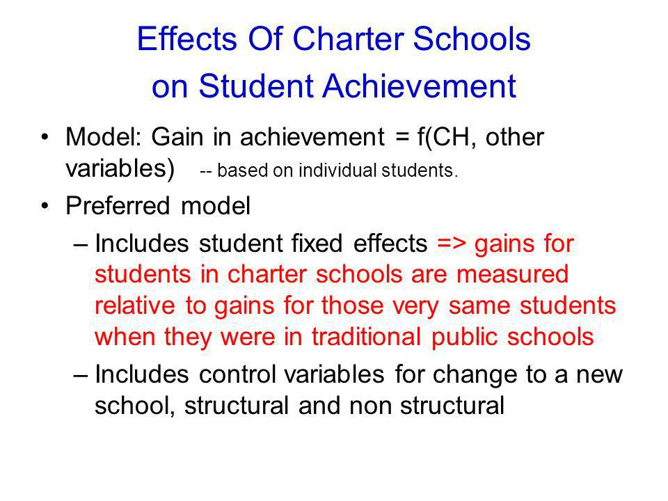 Effects Of Charter Schools on Student Achievement Model: Gain in achievement = f(CH, other variables) -- based on individual students.