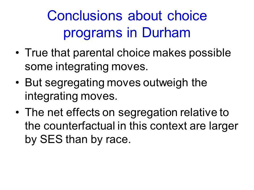 Conclusions about choice programs in Durham True that parental choice makes possible some integrating moves. But segregating moves outweigh the integr