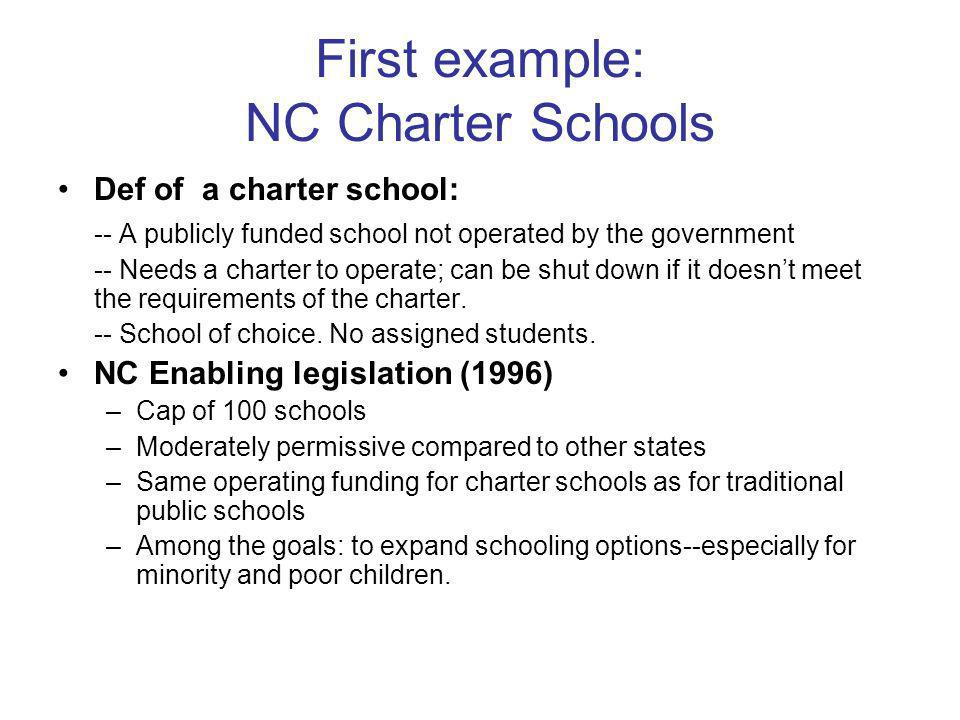 First example: NC Charter Schools Def of a charter school: -- A publicly funded school not operated by the government -- Needs a charter to operate; can be shut down if it doesnt meet the requirements of the charter.