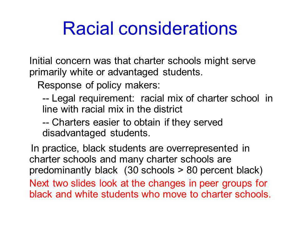 Racial considerations Initial concern was that charter schools might serve primarily white or advantaged students. Response of policy makers: -- Legal