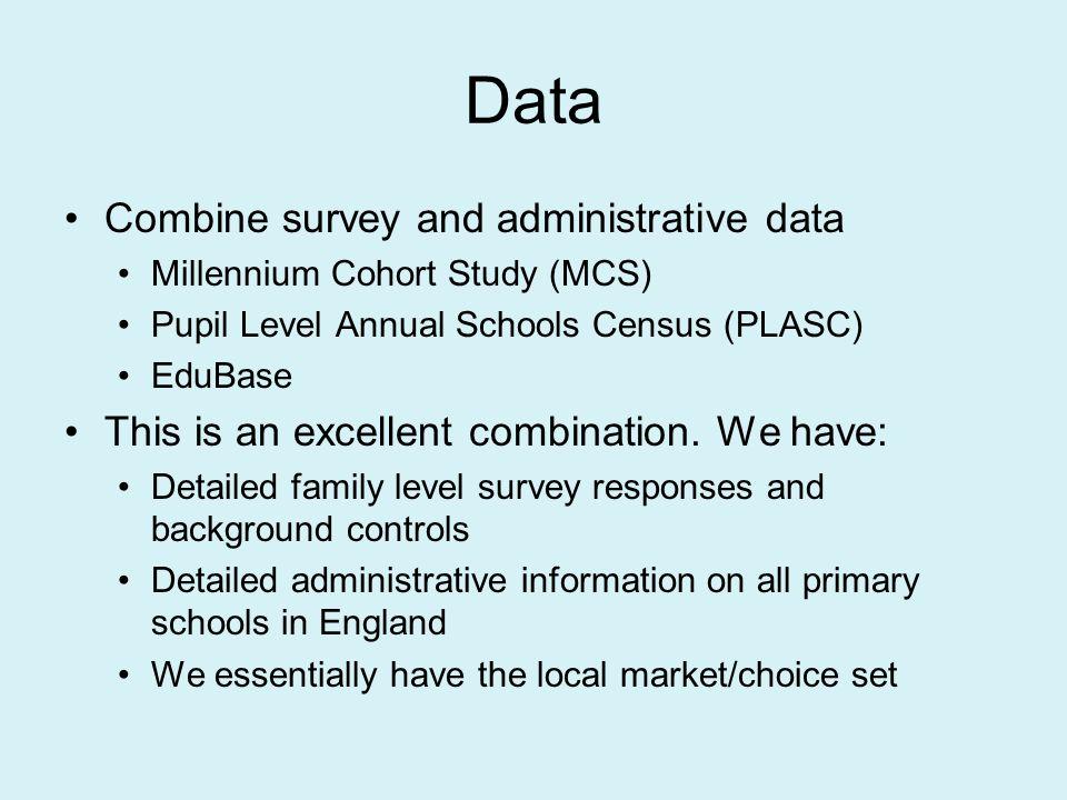 Data Combine survey and administrative data Millennium Cohort Study (MCS) Pupil Level Annual Schools Census (PLASC) EduBase This is an excellent combination.