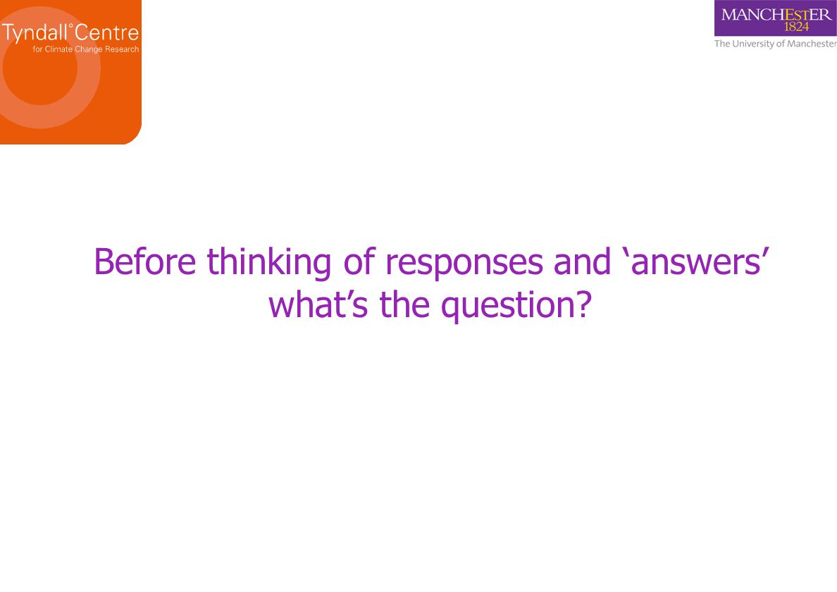Before thinking of responses and answers whats the question?